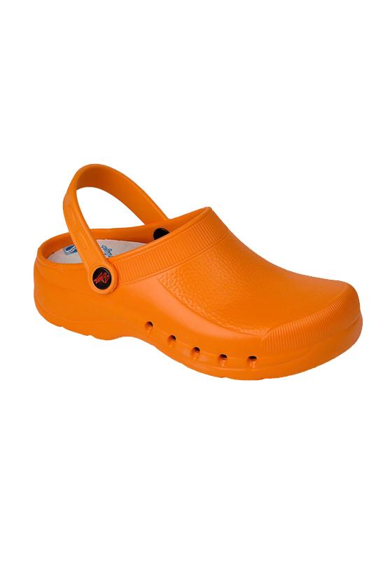 uniformes sanitarios en malaga zueco eva naranja