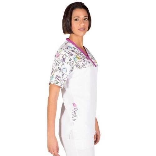Casaca sanitaria cuello pico GARYS 6095 Circulos lateral